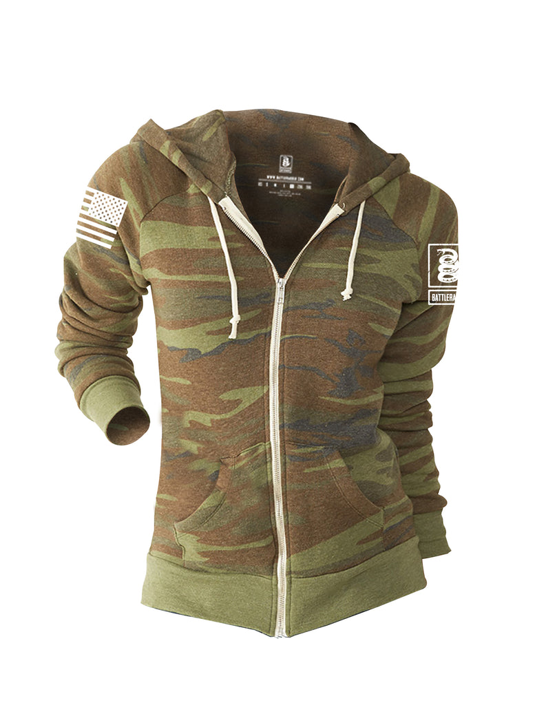 Battleraddle Basic Line White Sleeve Print Womens Camo Blended Fleece Zip Hoodie With Pockets - Battleraddle® LLC