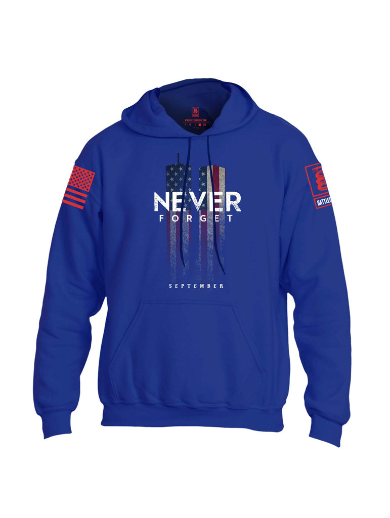 Battleraddle Never Forget September 11 Red Sleeve Print Mens Blended Hoodie With Pockets