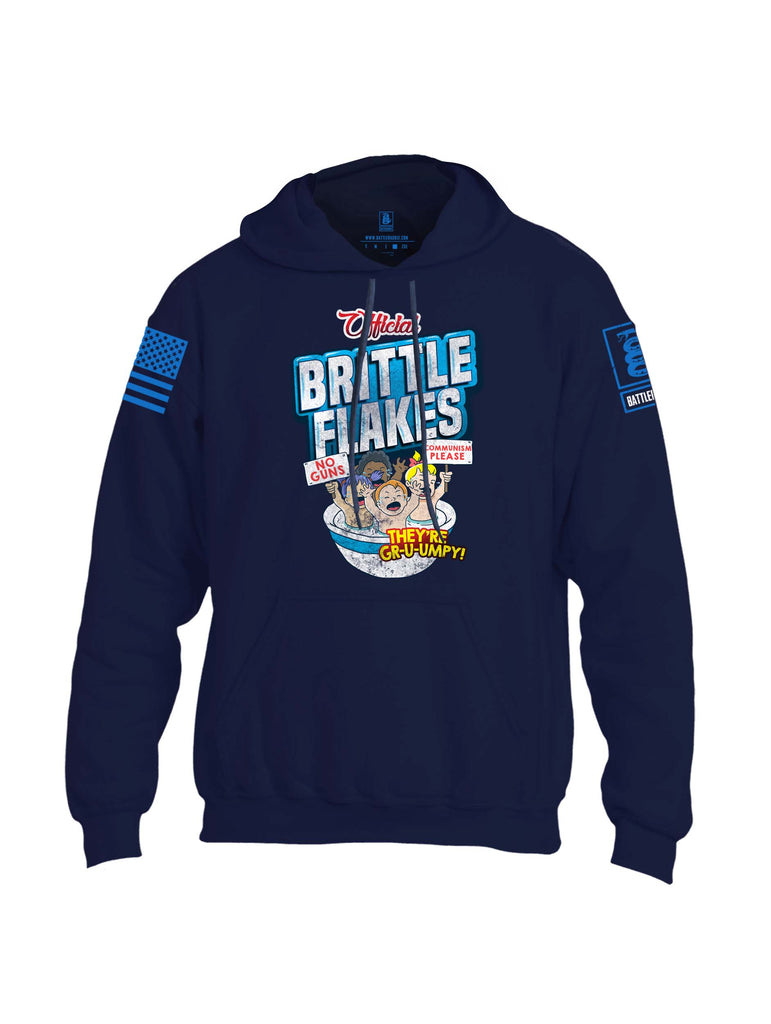 Battleraddle Official Brittle Flakes No Guns Communism Please They're Grumpy Blue Sleeve Print Mens Blended Hoodie With Pockets