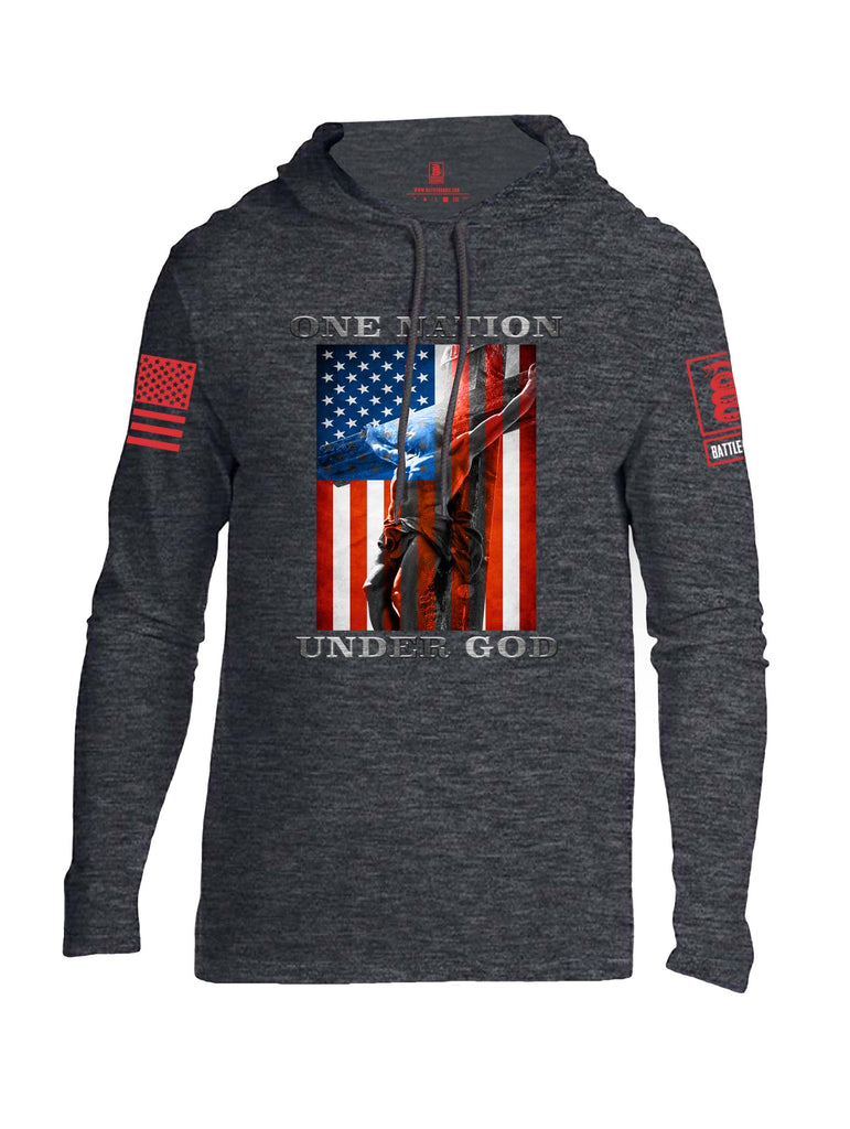 Battleraddle One Nation Under God Red Sleeve Print Mens Thin Cotton Lightweight Hoodie