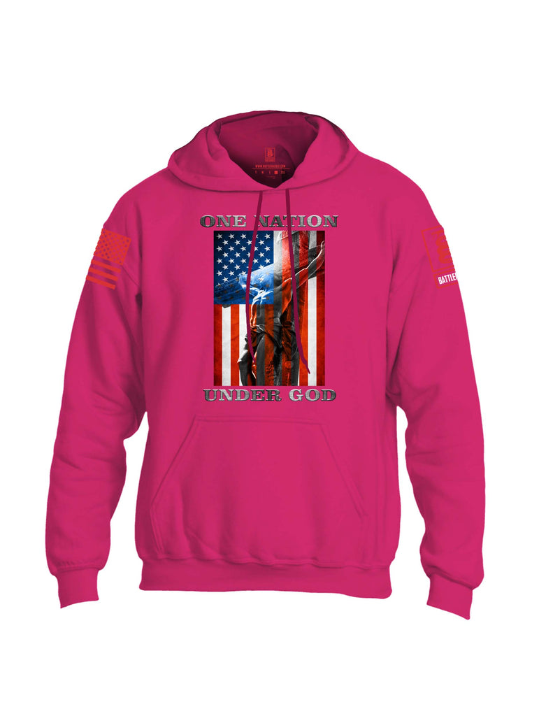 Battleraddle One Nation Under God Red Sleeve Print Mens Blended Hoodie With Pockets
