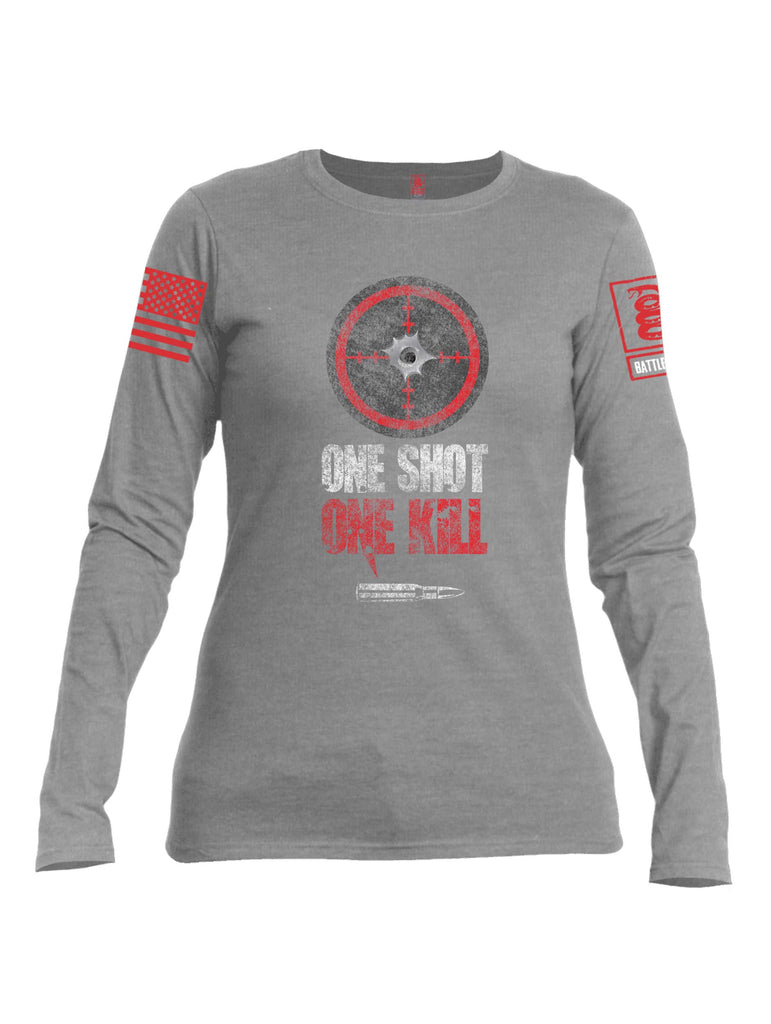 Battleraddle One Shot One Kill Red Sleeve Print Womens Cotton Long Sleeve Crew Neck T Shirt
