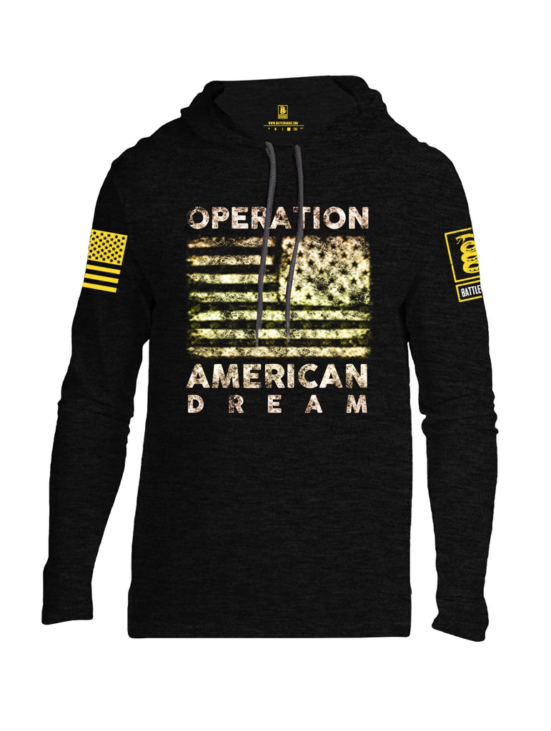 Battleraddle Operation American Dream Yellow Sleeve Print Mens Thin Cotton Lightweight Hoodie