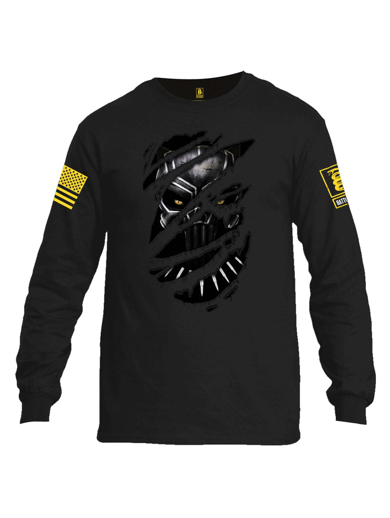 Battleraddle Panting Bullet Expounder Skull Ripped Yellow Sleeve Print Mens Cotton Long Sleeve Crew Neck T Shirt
