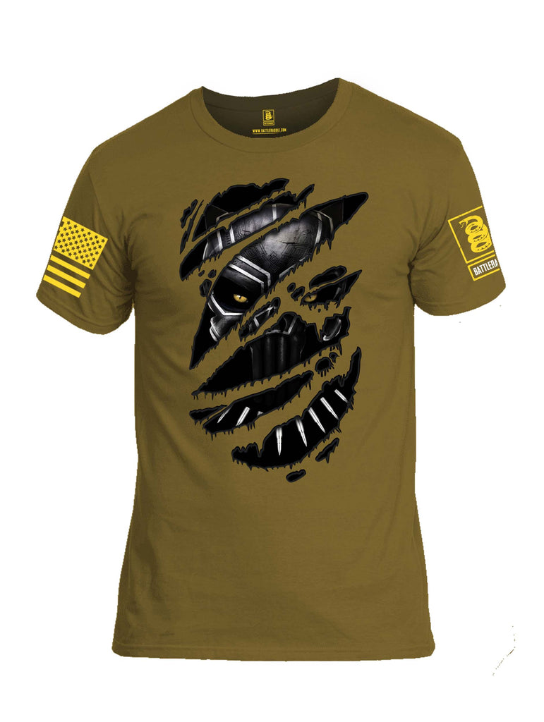 Battleraddle Panting Bullet Expounder Skull Ripped Yellow Sleeve Print Mens Cotton Crew Neck T Shirt