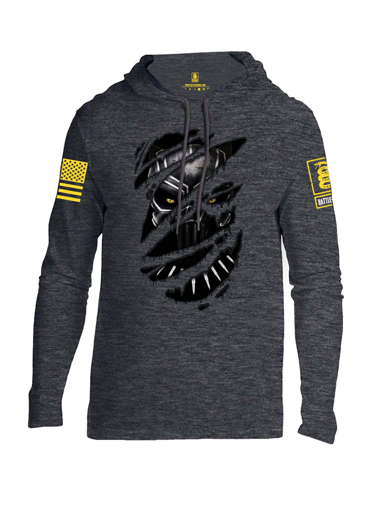 Battleraddle Panting Bullet Expounder Skull Ripped Yellow Sleeve Print Mens Thin Cotton Lightweight Hoodie