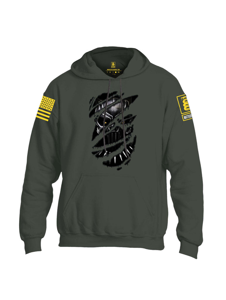 Battleraddle Panting Bullet Expounder Skull Ripped Yellow Sleeve Print Mens Blended Hoodie With Pockets