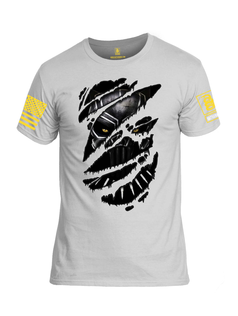 Battleraddle Panting Bullet Expounder Skull Ripped Yellow Sleeve Print Mens 100% Battlefit Polyester Crew Neck T Shirt
