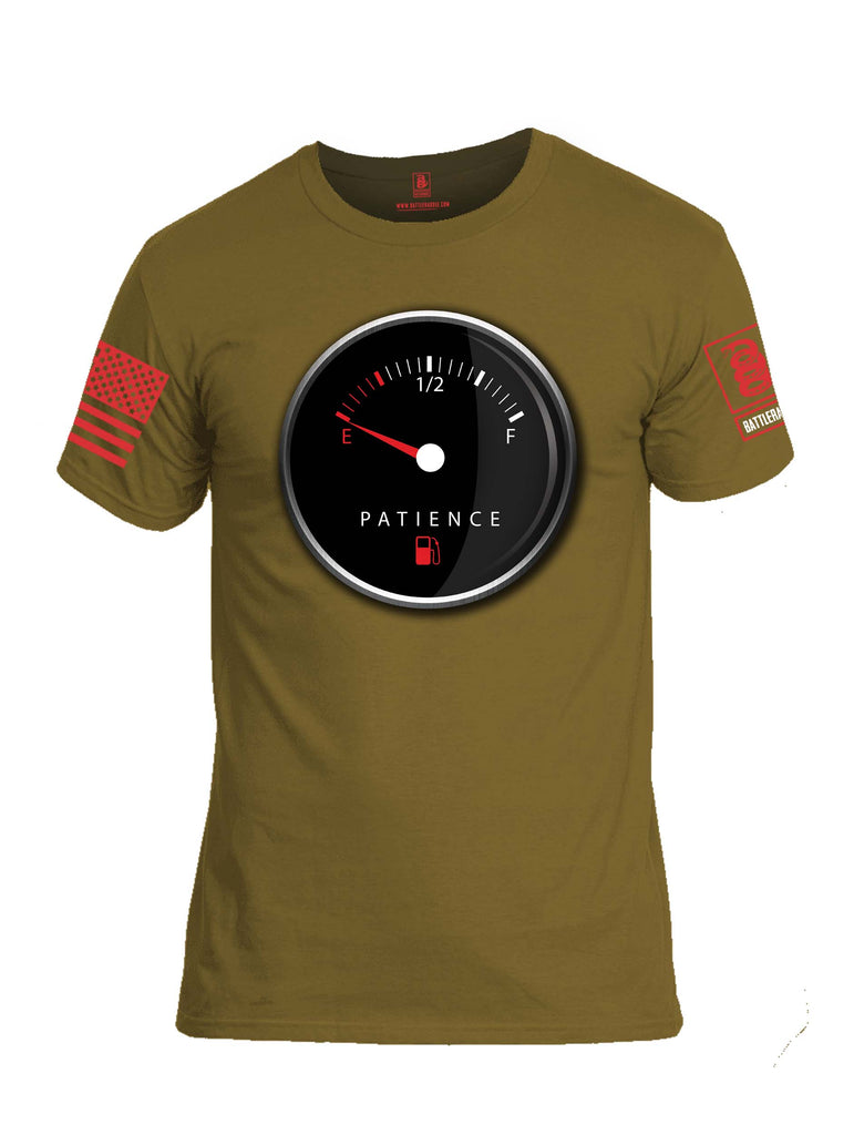Battleraddle Patience Gauge Red Sleeve Print Mens Cotton Crew Neck T Shirt