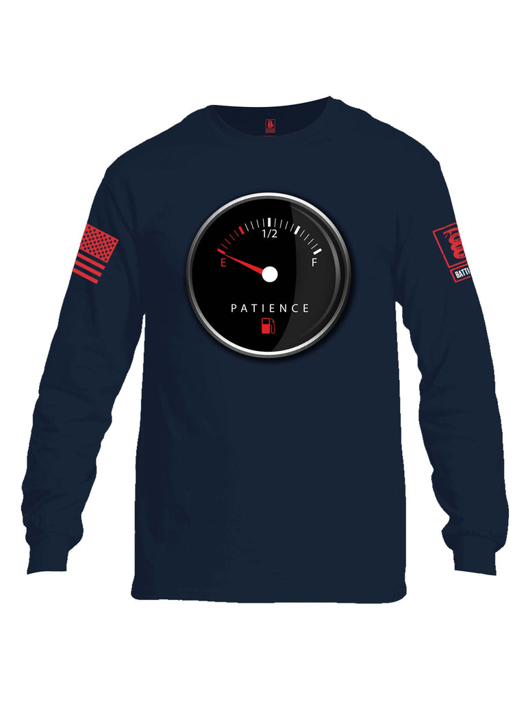 Battleraddle Patience Gauge Red Sleeve Print Mens Cotton Long Sleeve Crew Neck T Shirt