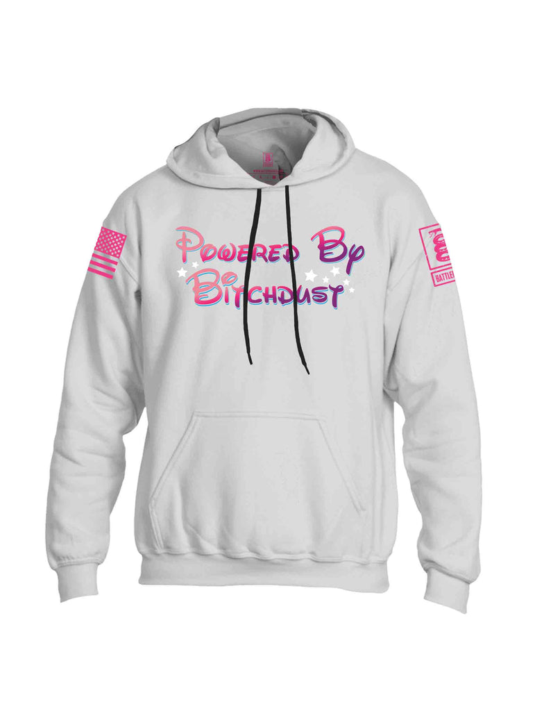 Battleraddle Powered By Bitchdust Pink Sleeve Print Mens Blended Hoodie With Pockets