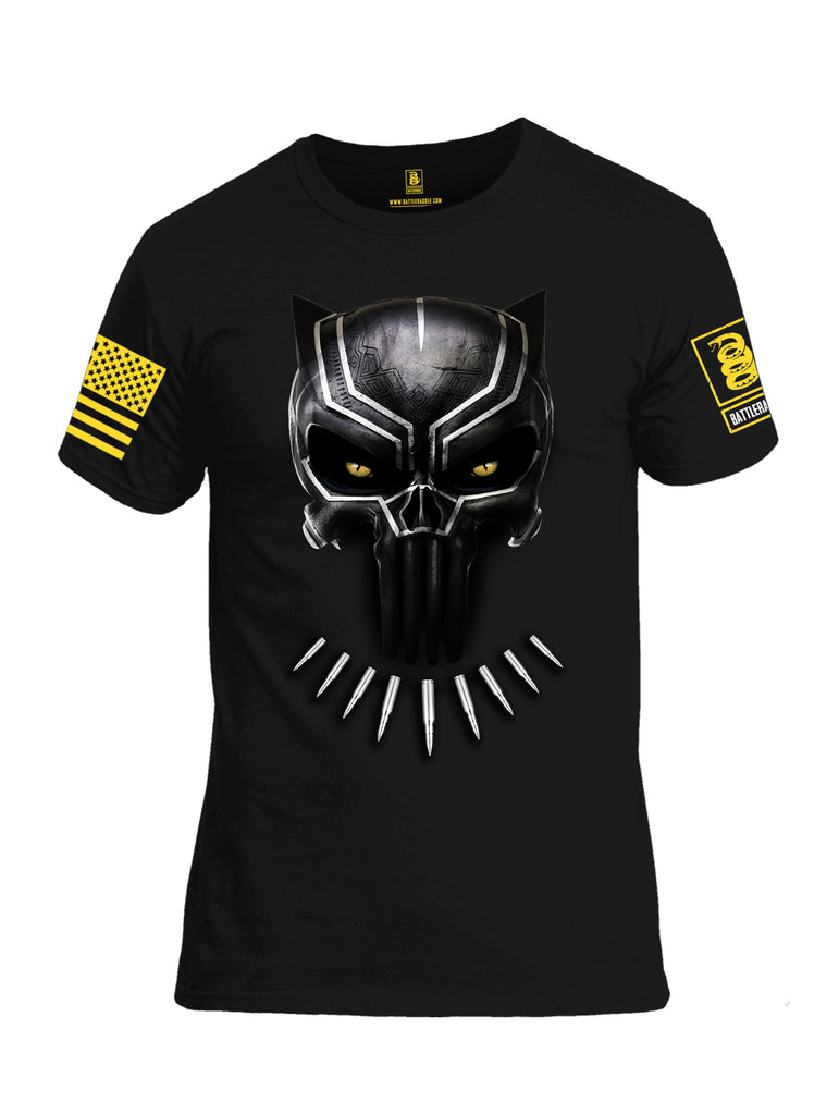 Battleraddle Panting Bullet Expounder Yellow Sleeve Print Mens Cotton Crew Neck T Shirt