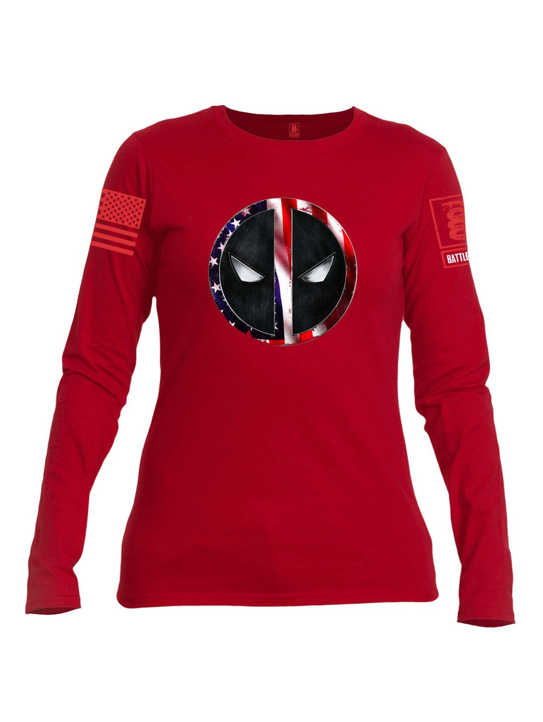 Battleraddle Patriotic American Flag Avenger Dead Man Snake Eyes Red  Sleeve Print Womens Cotton Long Sleeve Crew Neck T Shirt