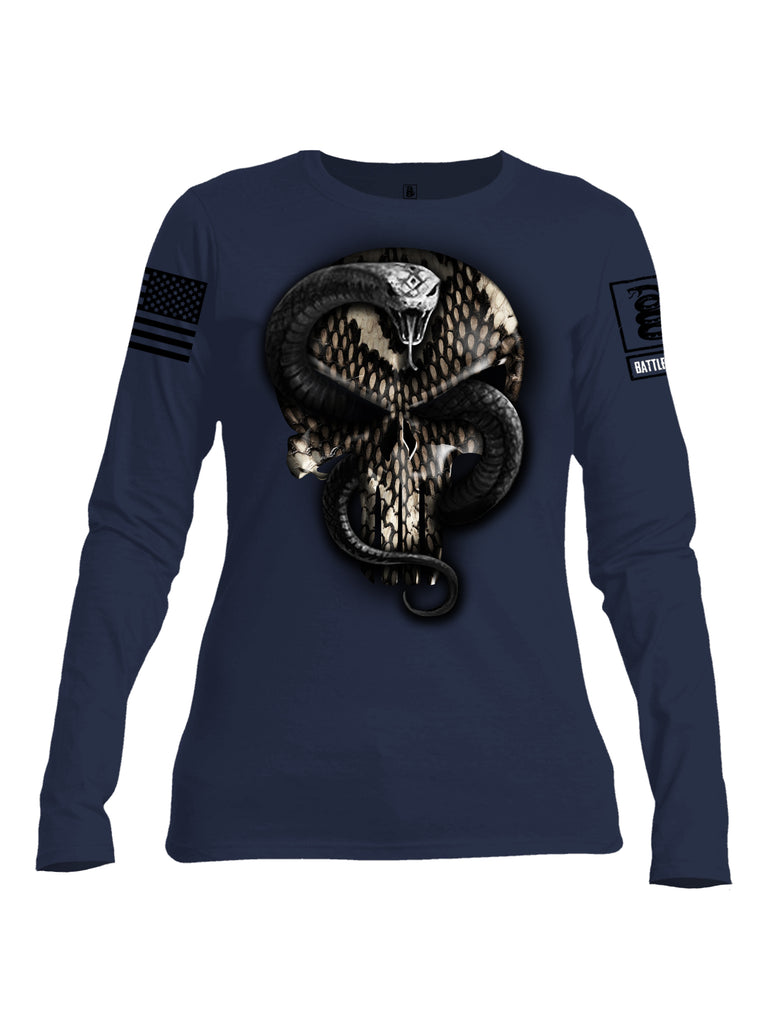 Battleraddle Mr. Expounder Commander Snake Skull Black Sleeve Print  Womens Cotton Long Sleeve Crew Neck  T Shirt