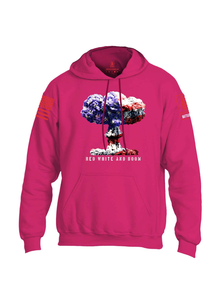 Battleraddle Red White And Boom Red Sleeve Print Mens Blended Hoodie With Pockets shirt|custom|veterans|Apparel-Mens Hoodies-Cotton/Dryfit Blend