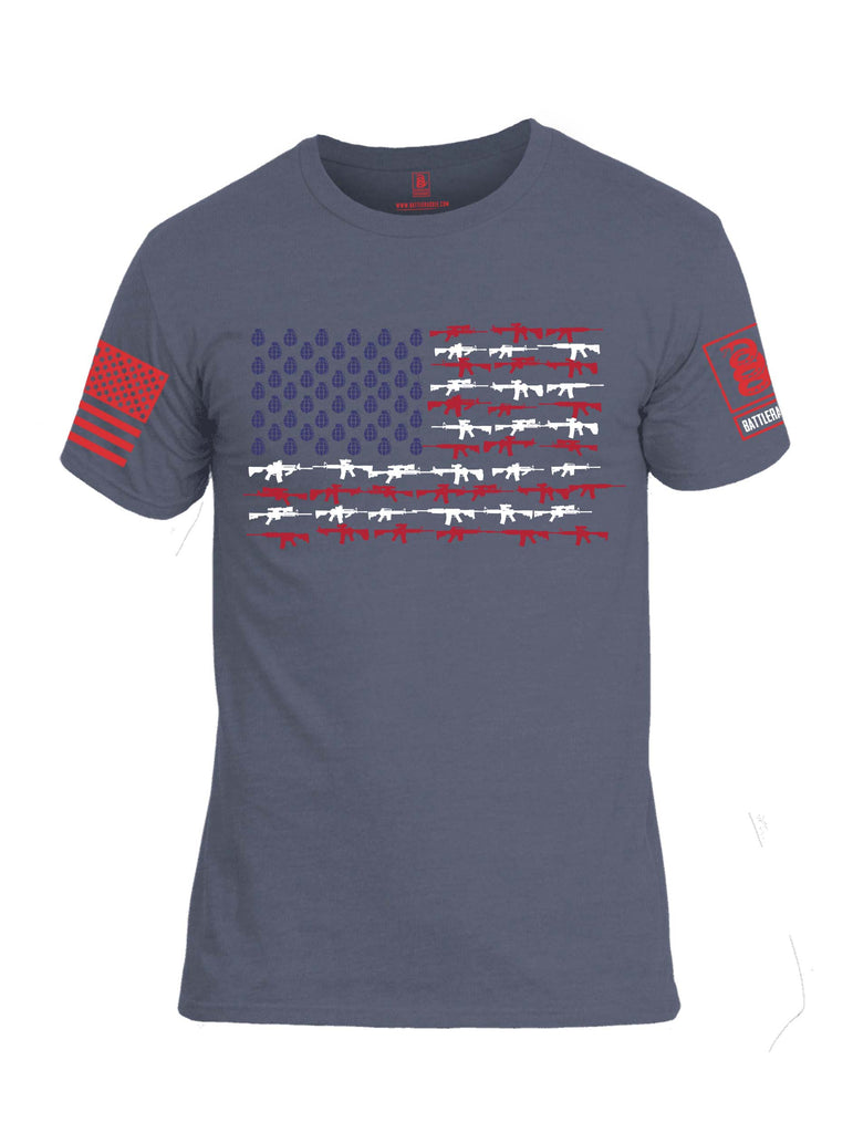 Battleraddle Rifle Gun Flag Red Sleeve Print Mens Cotton Crew Neck T Shirt