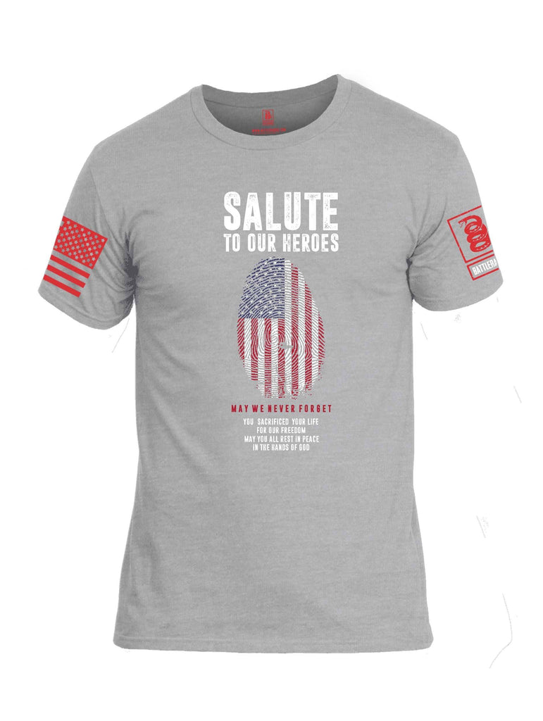 Battleraddle Salute To Our Heroes Red Sleeve Print Mens Cotton Crew Neck T Shirt shirt|custom|veterans|Apparel-Mens T Shirt-cotton