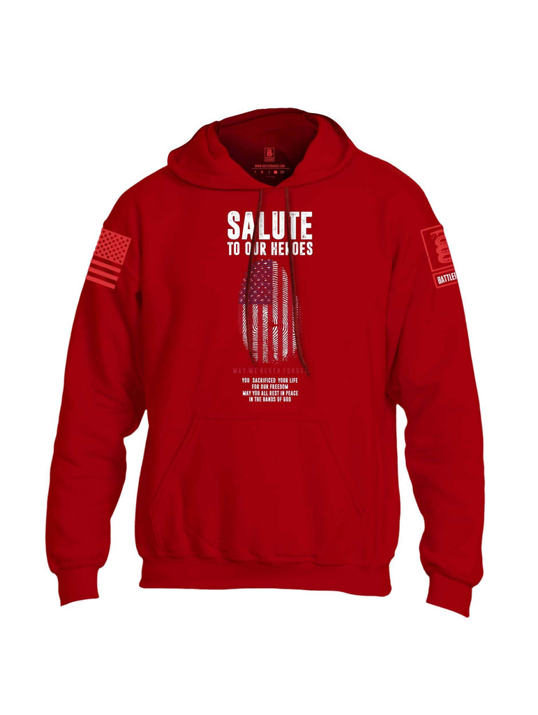 Battleraddle Salute To Our Heroes Red Sleeve Print Mens Blended Hoodie With Pockets shirt|custom|veterans|Apparel-Mens Hoodies-Cotton/Dryfit Blend