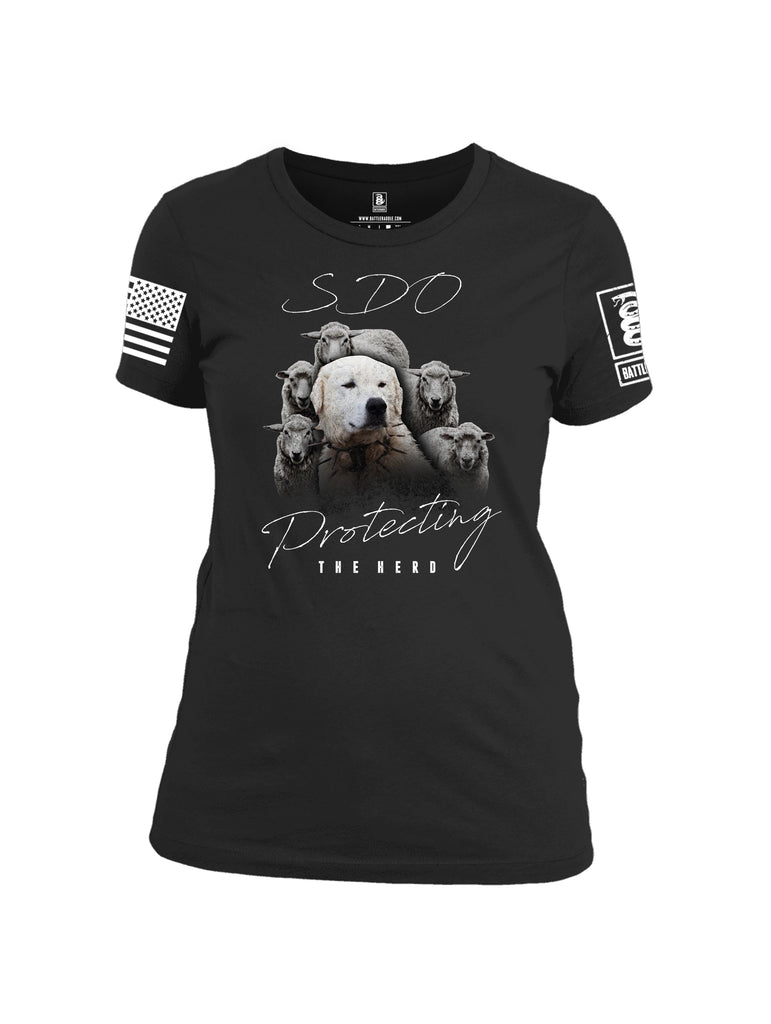 Battleraddle SDO Protecting The Herd White Sleeve Print Womens Cotton Crew Neck T Shirt