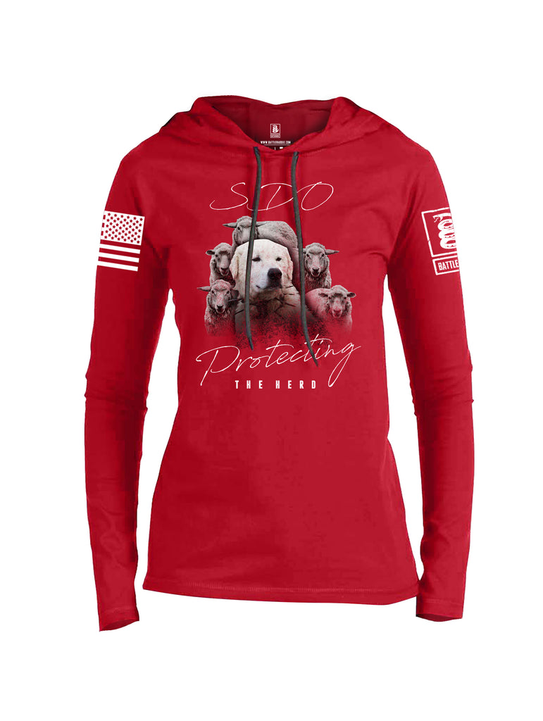 Battleraddle SDO Protecting The Herd White Sleeve Print Womens Thin Cotton Lightweight Hoodie