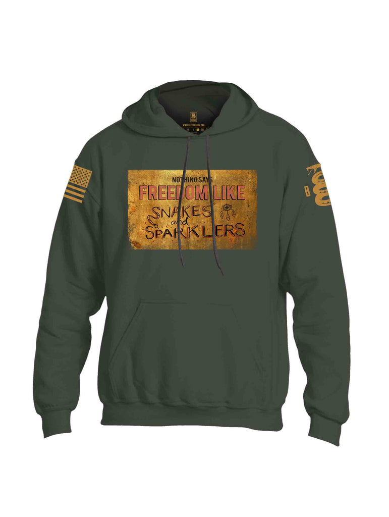 Battleraddle Nothing Says Freedom Like Snakes And Sparklers Brass Sleeve Print Mens Blended Hoodie With Pockets