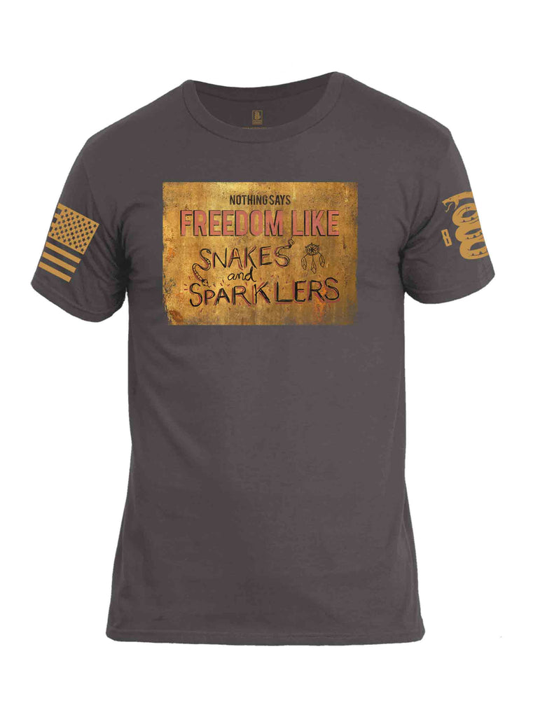 Battleraddle Nothing Says Freedom Like Snakes And Sparklers Brass Sleeve Print Mens Cotton Crew Neck T Shirt