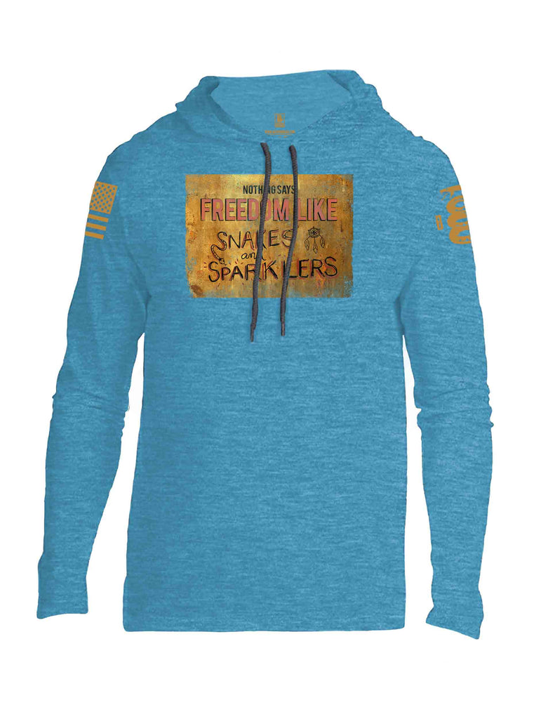 Battleraddle Nothing Says Freedom Like Snakes And Sparklers Brass Sleeve Print Mens Thin Cotton Lightweight Hoodie