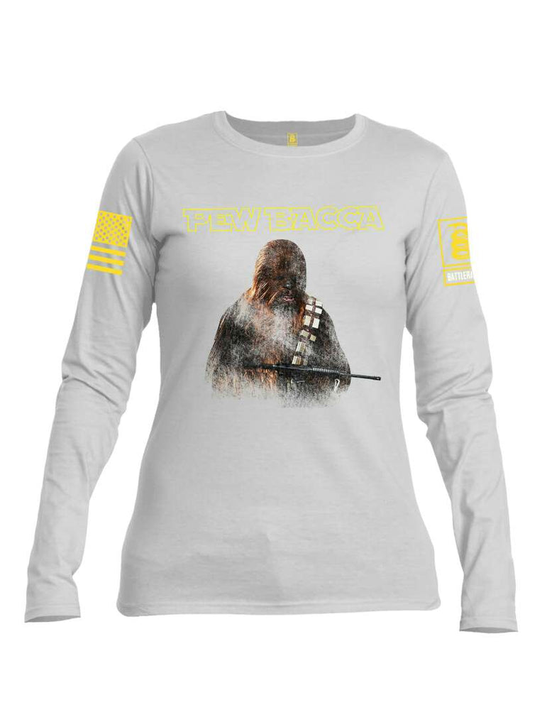 Battleraddle Pew Bacca Yellow Sleeve Print Womens Cotton Long Sleeve Crew Neck T Shirt