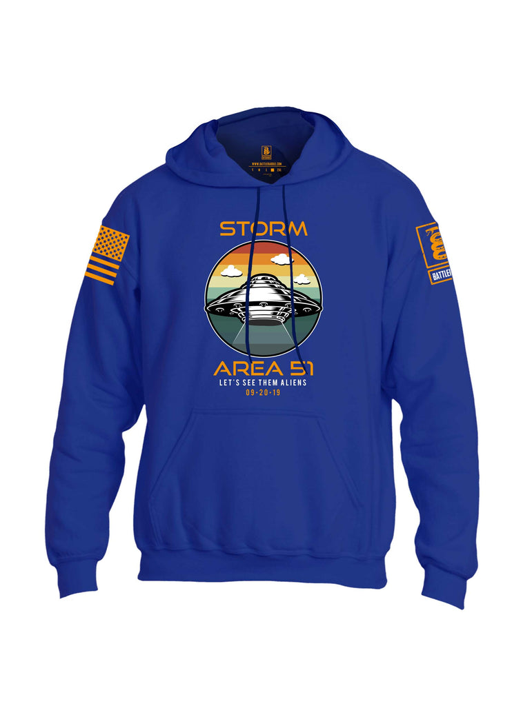 Battleraddle Storm Area 51 Lets See Them Aliens Orange Sleeve Print Mens Blended Hoodie With Pockets