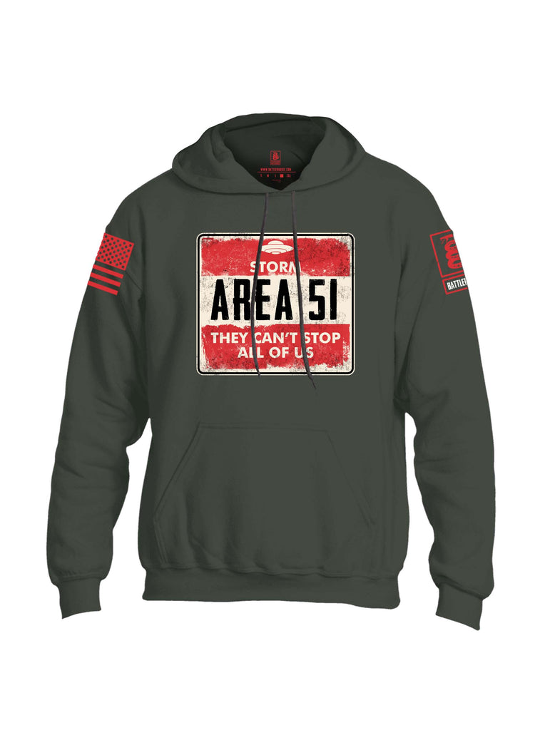 Battleraddle Storm Area 51 They Cant Stop All Of Us Red Sleeve Print Mens Blended Hoodie With Pockets