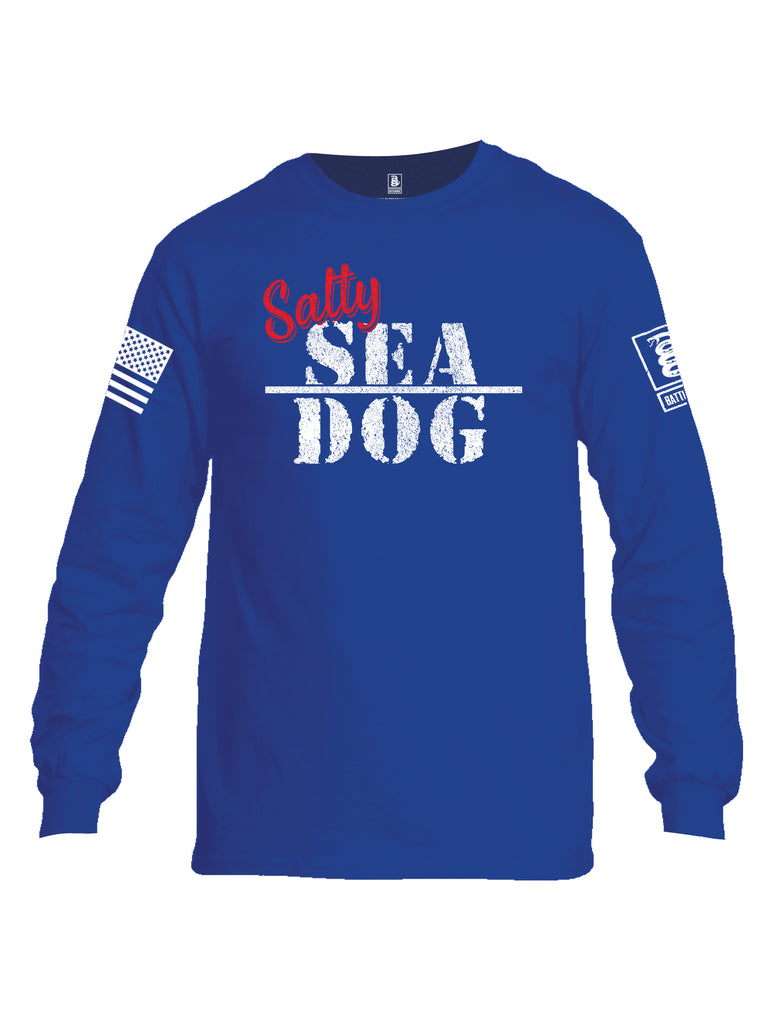 Battleraddle Salty Sea Dog White Sleeve Print Mens Cotton Long Sleeve Crew Neck T Shirt