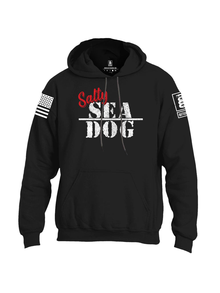 Battleraddle Salty Sea Dog White Sleeve Print Mens Blended Hoodie With Pockets