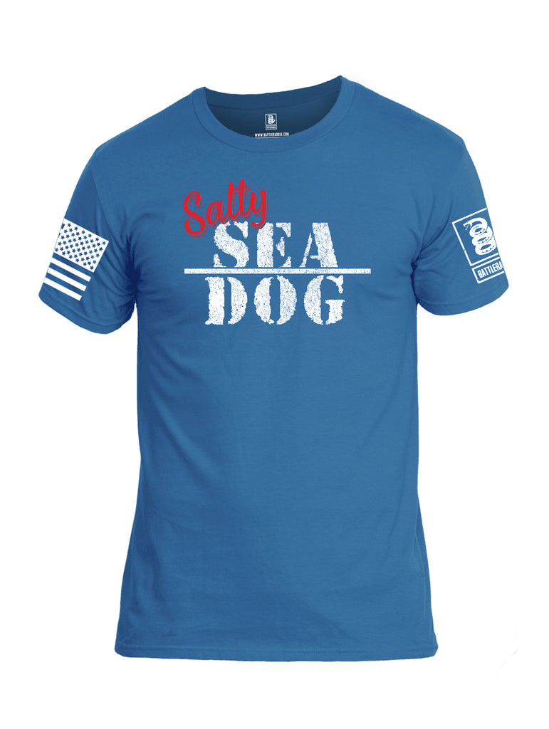 Battleraddle Salty Sea Dog White Sleeve Print Mens Cotton Crew Neck T Shirt