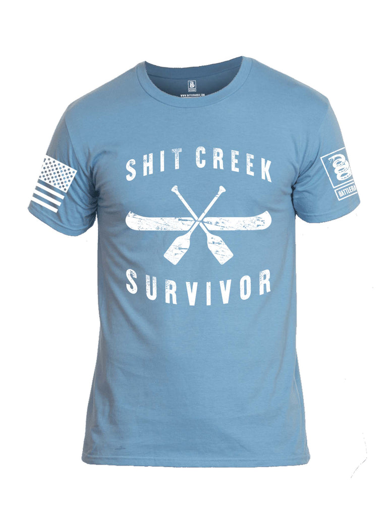 Battleraddle Shit Creek Survivor White Sleeve Print Mens Cotton Crew Neck T Shirt
