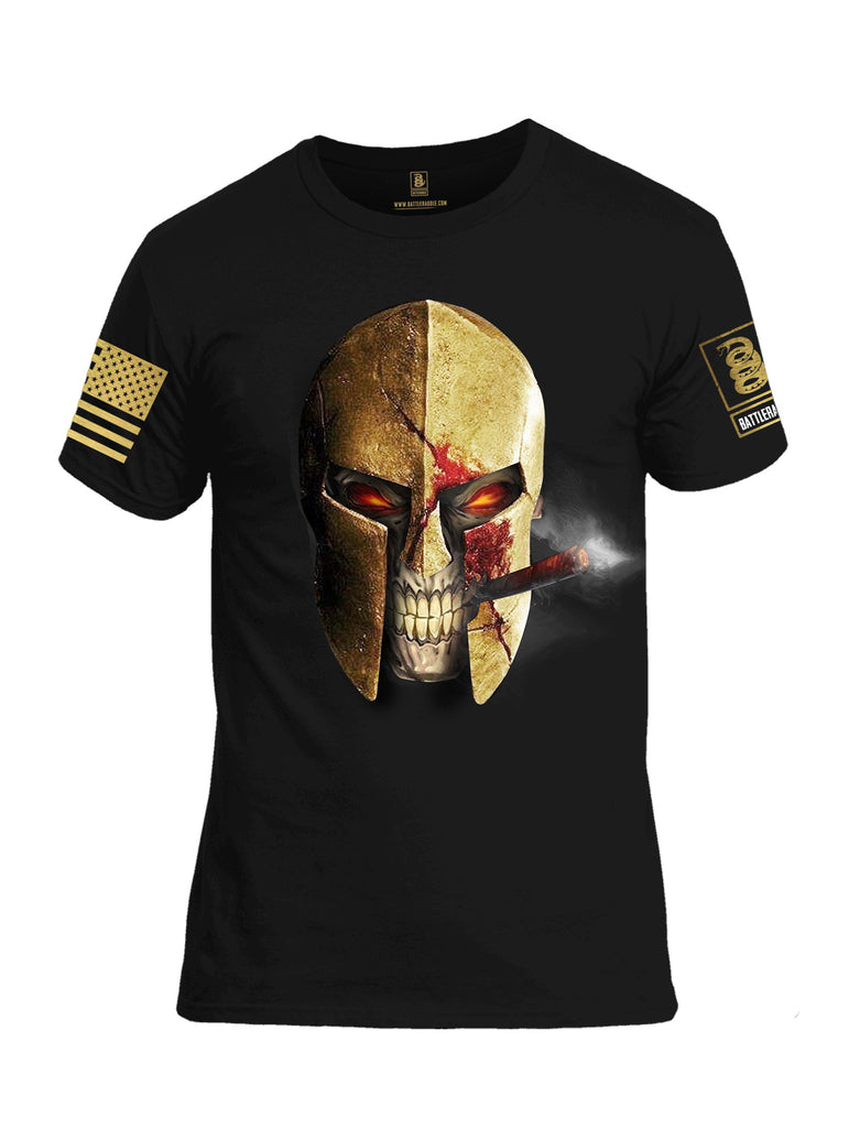 Battleraddle Smoking Spartan Skull Brass Sleeve Print Mens Cotton Crew Neck T Shirt