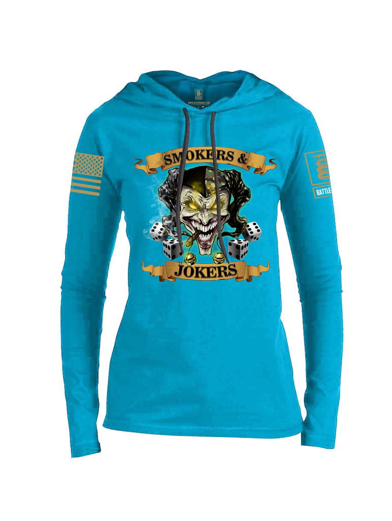 Battleraddle Smokers and Jokers Brass Sleeve Print Womens Thin Cotton Lightweight Hoodie
