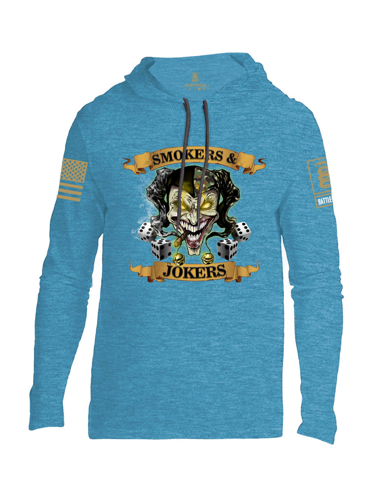 Battleraddle Smokers And Jokers Brass Sleeve Print Mens Thin Cotton Lightweight Hoodie