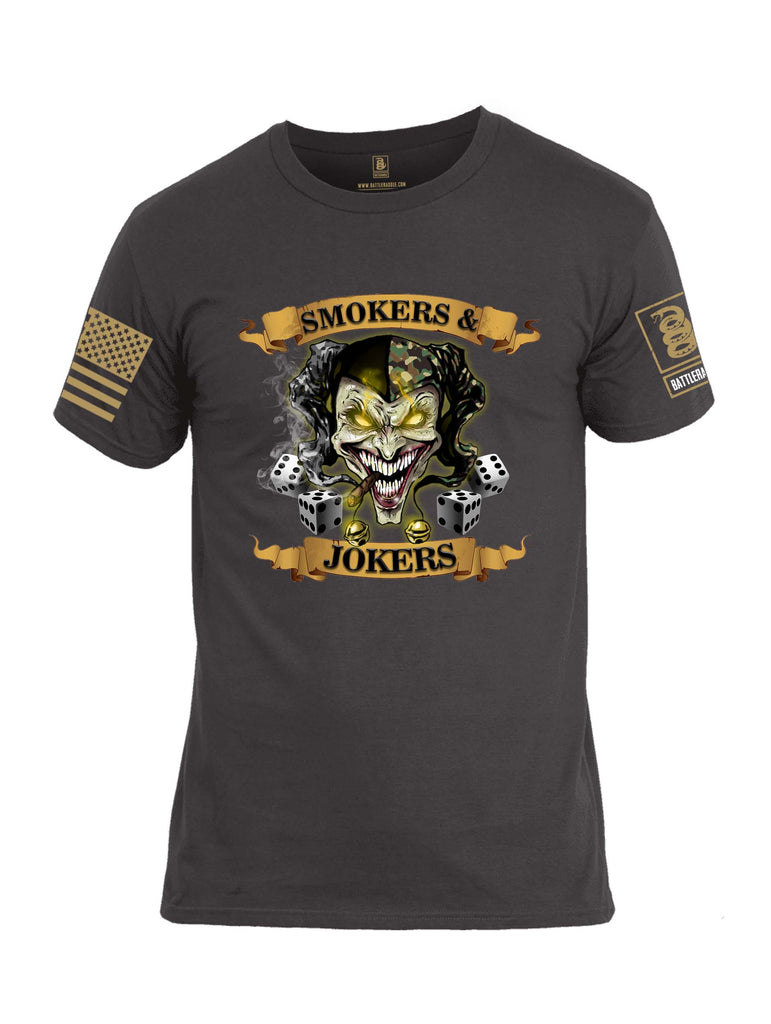 Battleraddle Smokers And Jokers Brass Sleeve Print Mens Cotton Crew Neck T Shirt