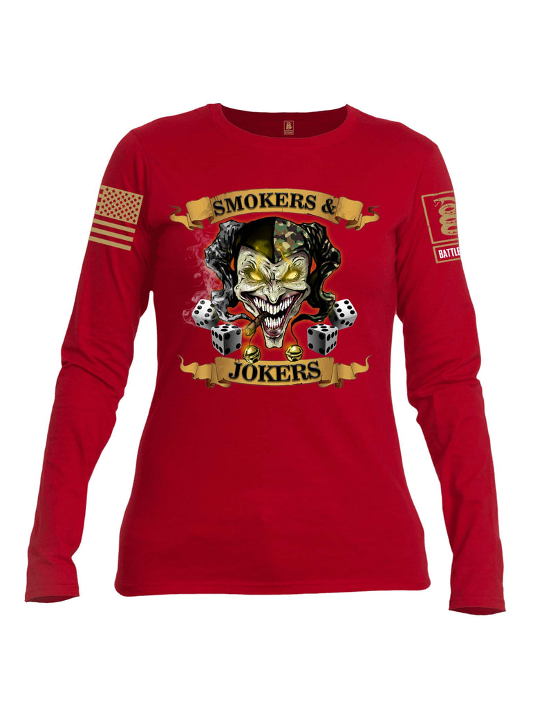 Battleraddle Smokers and Jokers Brass Sleeve Print Womens Cotton Long Sleeve Crew Neck T Shirt