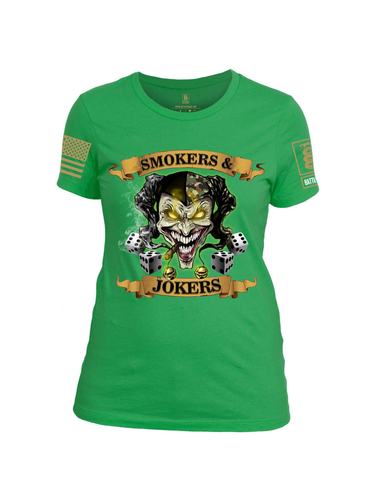 Battleraddle Smokers and Jokers Brass Sleeve Print Womens Cotton Crew Neck T Shirt