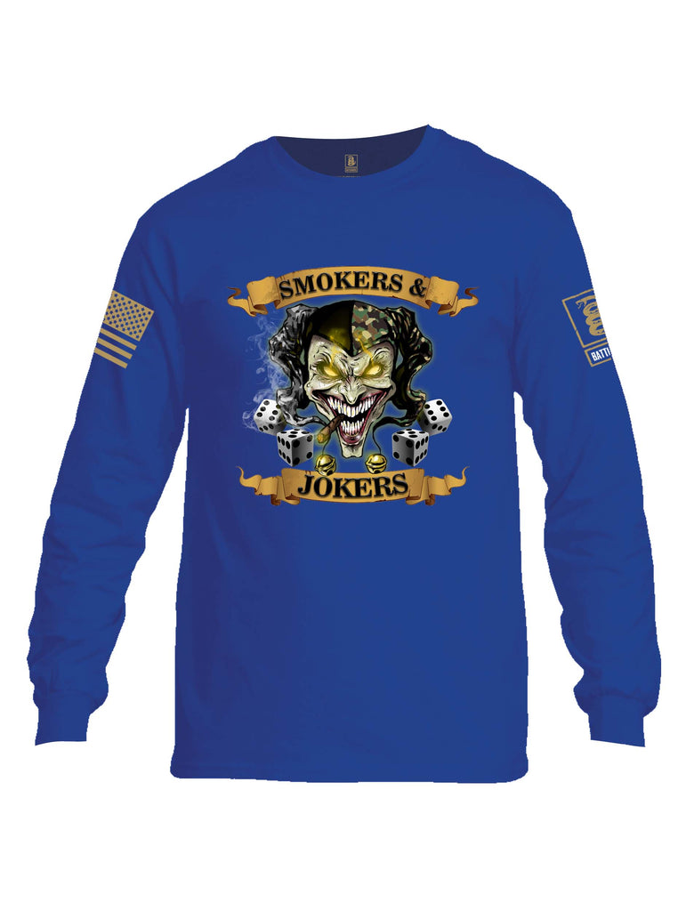 Battleraddle Smokers And Jokers Brass Sleeve Print Mens Cotton Long Sleeve Crew Neck T Shirt