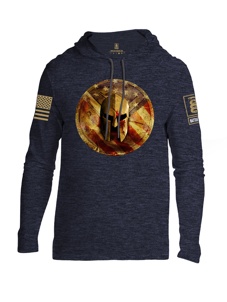 Battleraddle Spartan Helm Gold Brass Sleeve Print Mens Thin Cotton Lightweight Hoodie