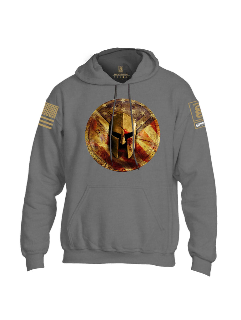 Battleraddle Spartan Helm Gold Brass Sleeve Print Mens Blended Hoodie With Pockets