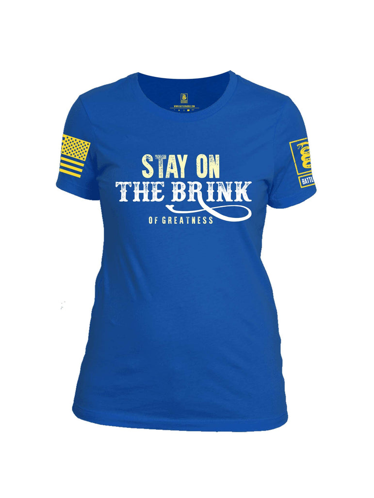 Battleraddle Stay On The Brink Of Greatness Yellow Sleeve Print Womens Cotton Crew Neck T Shirt