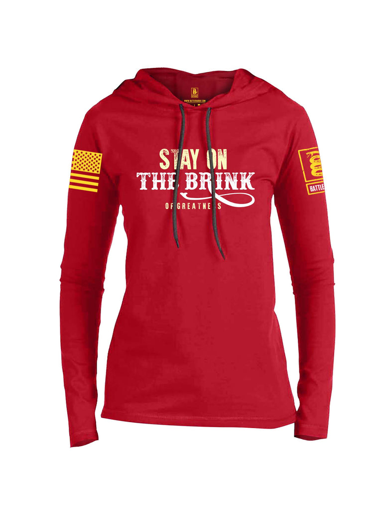 Battleraddle Stay On The Brink Of Greatness Yellow Sleeve Print Womens Thin Cotton Lightweight Hoodie