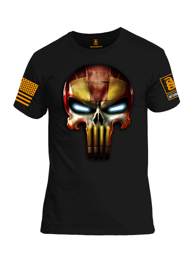 Battleraddle Super Punisher Iron Skull Orange Sleeve Print Mens Cotton Crew Neck T Shirt
