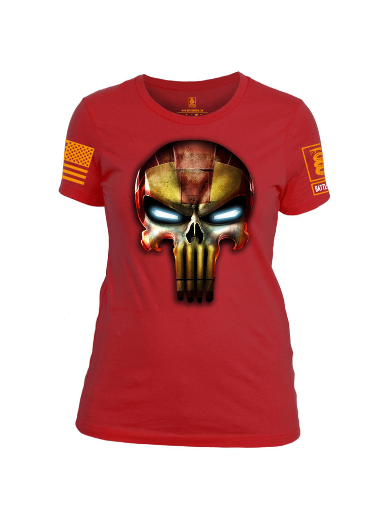 Battleraddle Mr. Expounder Iron Skull Orange Sleeve Print Womens Cotton Crew Neck T Shirt