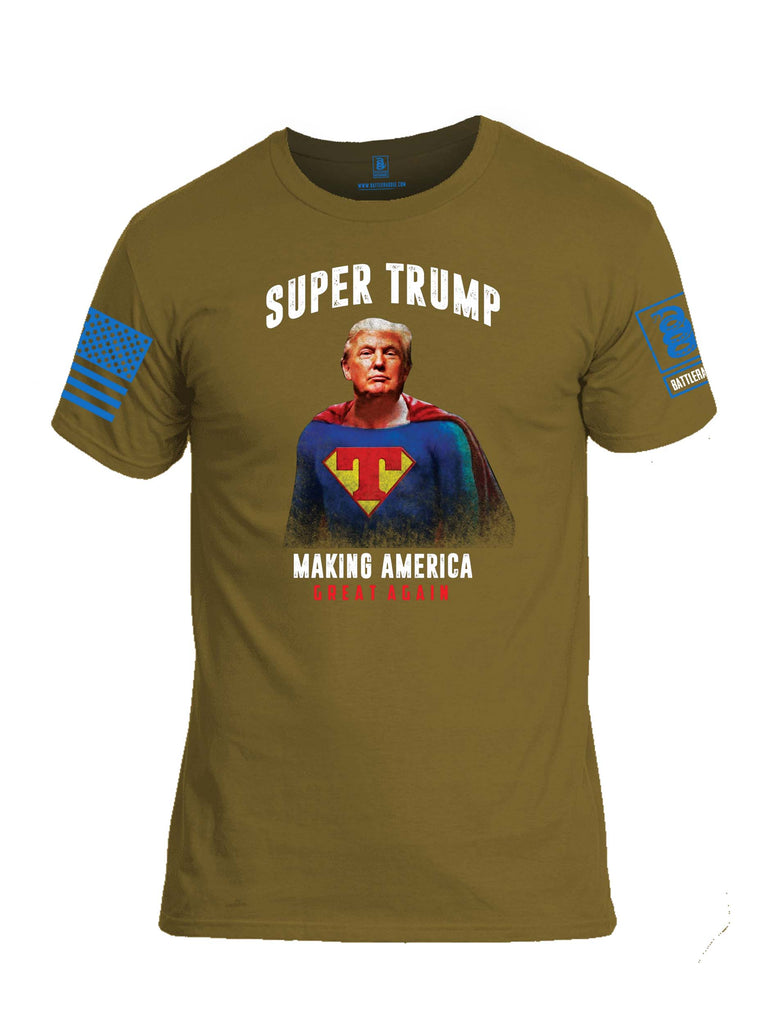 Battleraddle Super Trump Making America Great Again Blue Sleeve Print Mens Cotton Crew Neck T Shirt