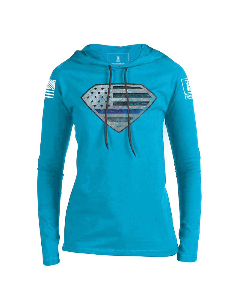 Battleraddle Super Blue Line USA Flag White Sleeve Print Womens Thin Cotton Lightweight Hoodie