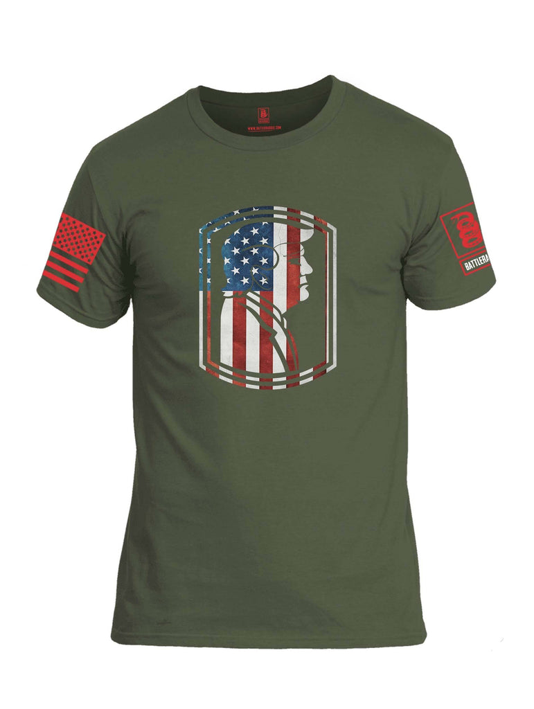 Battleraddle Trump Army USA Flag Red Sleeve Print Mens Cotton Crew Neck T Shirt shirt|custom|veterans|Apparel-Mens T Shirt-cotton